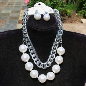 Huge Chunky Boho Pearl Statement Necklace Earrings